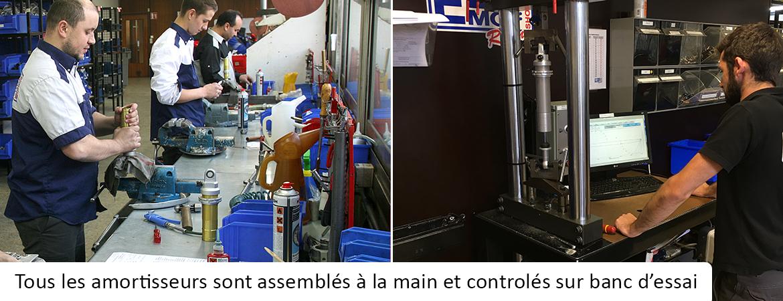 Tous les amortisseurs EMC sont assemblés à la main et controlés sur un banc d'essai