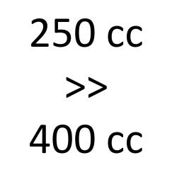 250 cc > 400 cc