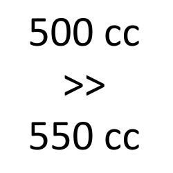 500 cc > 550 cc