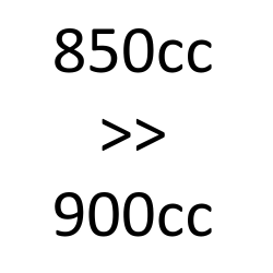 850 cc > 900 cc