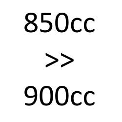 de 850 cc à 900 cc