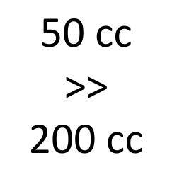 50 cc > 200 cc