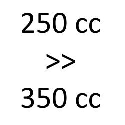 250 cc > 350 cc