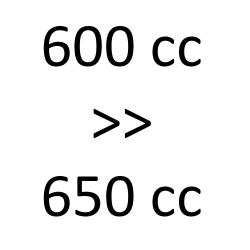 600 cc > 650 cc