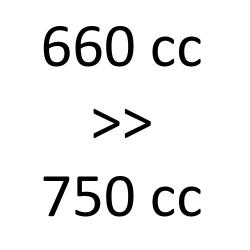 660 cc > 750 cc