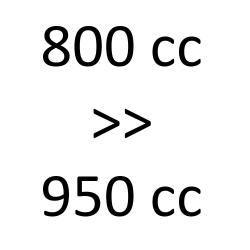 800 cc > 950 cc