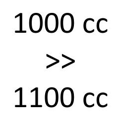 1000 cc > 1100 cc