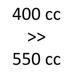 400 cc > 550 cc