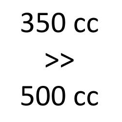 350 cc > 500 cc