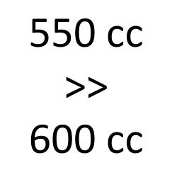 550 cc > 600 cc