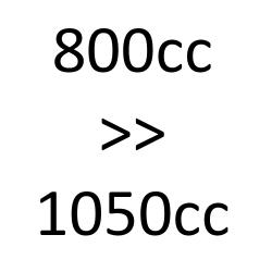800 cc > 1000 cc