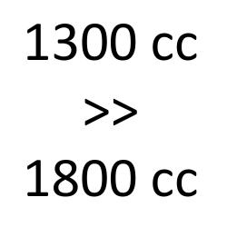 1300 cc > 1800 cc