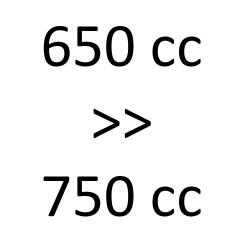 650 cc > 750 cc