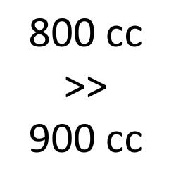 800 cc > 900 cc