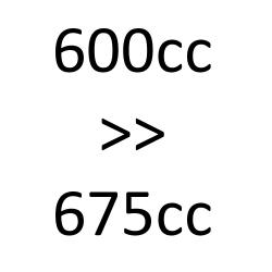 de 600cc à 675cc