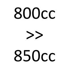 800cc to 850cc