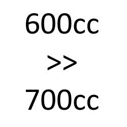 de 600cc à 700cc